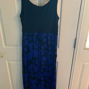 A blue and black maxi dress